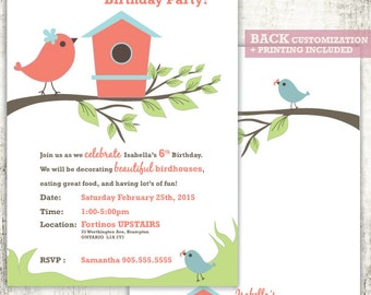 BIRDHOUSE Invitation // Birthday Party Invite // BIRDIE // Crafting Party // PRINTED Invites