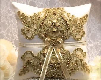 ring pillow/ring bearer/ring bearer pillow/gold ring pillow