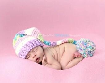 Baby Easter Hat - Newborn Stocking Hat - Elf Hat - Newborn Girl Easter Prop ~ Baby Girl Easter Hat - Spring Stocking Hat - Purple Elf Hat