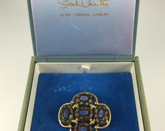 "Sarah Coventry ""Light of the East"" Brooch - Vintage 1968 Mosaic Enamel Cabochons, Original Box"