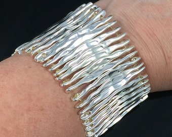 Wide Liquid Silver Stretch Bracelet - Vintage Boho Chic, Summer, Beach Wear Silver Tone Bracelet