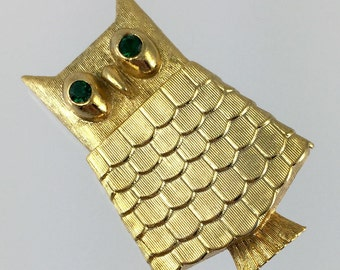 Avon Gold Owl Solid Perfume Brooch - Vintage 60s Somewhere Perfume Glacé, Green Rhinestone Eyes