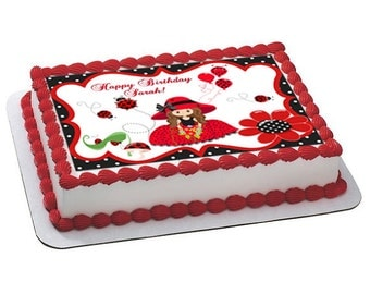 Ladybug edible cake topper, ladybug edible cake image, ladybug birthday, ladybug party, ladybug cupcake, ladybug baby shower, ladybug cookie