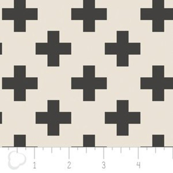Changing Pad Cover >> Nordic Cross in Carbon >> MADE-to-ORDER black and white cross changing pad cover, plus changing pad, swiss cross