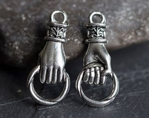Hand Charm, Hand Holding Ring Connector, Fleur-De-Lis Pendant, Antique Silver, 11X25mm, 2 Pc, Made in the USA, AB43