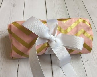 Pink and Gold Changing Pad Cover - Chevron - Baby Girl Bedding - Crib Bedding - Nursery - Pink - Gold - Ready to ship - Trendy -