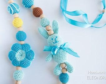 Nursing necklace  breastfeeding necklace  teething necklace mommy necklace crochet nacklace blue colour