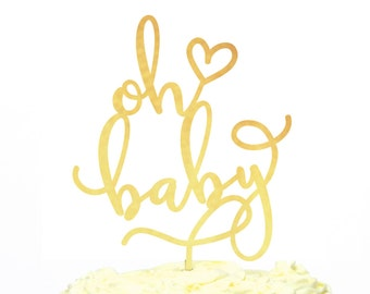 New Baby Cake Topper, Oh Baby Statement Cake Topper