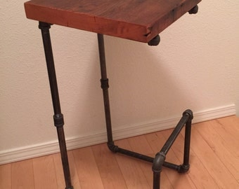 Reclaimed wood bar stools with foot rest || iron pipe bar stools || Industrial bar stools