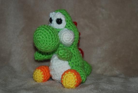 Amigurumi Teddy Bear Crochet Pattern : Crocheted Yoshi / Amigurumi Yoshi / Yarn Yoshi