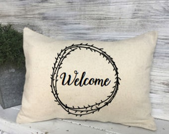 WELCOME PILLOW DECORATING,Home Decor,Cream Color, 16 X 12