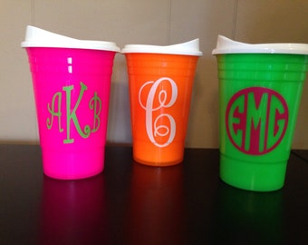 Neon Plastic Solo Cup with lid & monogram