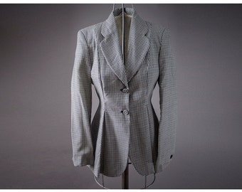 "Vintage 50's style ""Sisley"" Jacket, Vintage designer Black and White Checker Jacket, 1940 style , made in Italy"