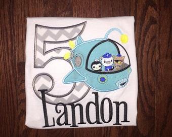 Octonauts Birthday Boy Custom Applique Tee Shirt wth Embroidered Name