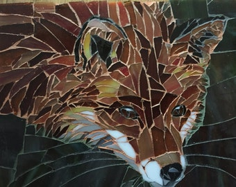 Red Fox Stained Glass Mosaic