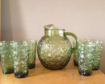 Vintage Retro Green Glass Pitcher and 19 matching Tumblers Set