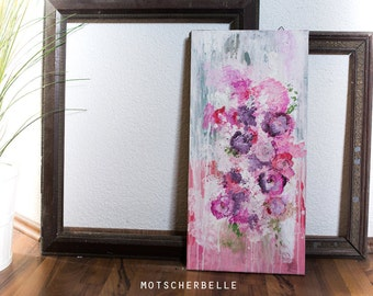 FLOWERS - abstract painting 30x60cm on canvas