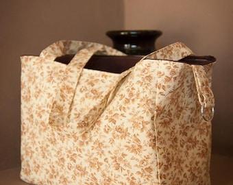 Simple Fabric Handbag - Vintage Flowers, brown, floral, handbag, tote, purse