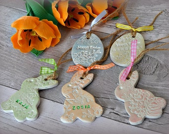Easter ornament etsy easter gifts for kids personalised easter bunny name tags easter tree decoration twig negle Image collections