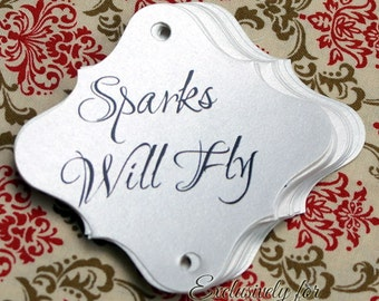 36 pc Wedding Sparklers Tags - Sparks Will Fly - Quartz Shimmer Paper