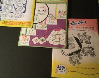 Set of Three Vintage Embroidery Patterns