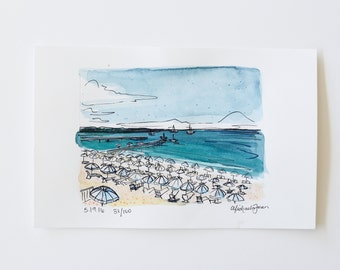 small sketch of a beach in Cannes, France