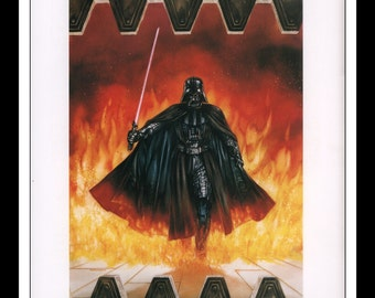 "Vintage Print Ad 1990's : Star Wars Dave Dorman Illustration - Darth Vader Wall Art Decor 8.5"" x 11"" Book Print"