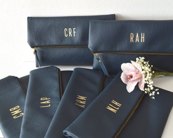 Personalized Navy Blue Clutch Purses / Set of 6 Personalized Foldover Clutches / Bridesmaids Gift / Monogrammed Bridal Clutch Purses