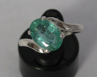 Natural emerald 1.73 ct & sterling silver 925 ring size 7