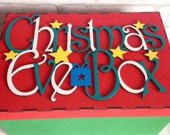 Christmas eve box, wooden christmas box, children's christmas box, family christmas eve box, wooden christmas decoration, personalised box.