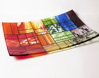 """A rectangular fused glass platter """"A Gentle color mix""""; Decorative Plate; High quality centerpiece."""