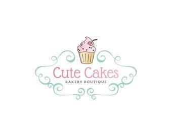 Logo Design - Premade Logo Design - Bakery Logo - Cupcake Logo - Muffin Logo - Fun Logo - Pink Logo, Customized for any business - 090