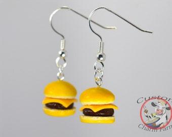Cheese Burger Earrings - Miniature Food Jewelry