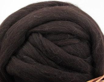 Brown/ Black Shetland Wool Top Roving - Undyed Natural Spinning Fiber / 4oz