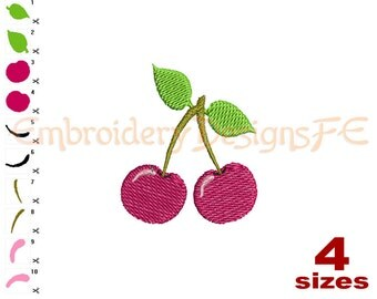 Cherry Mini Embroidery Design - 4 Sizes - Filled Stitch Machine Embroidery Design File