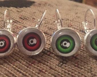 Eyeball silver dangly earrings