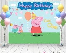 Peppa pig Birthday | Peppa Pig Backdrop | Peppa pig Banner | Happy Birthday Backdrop
