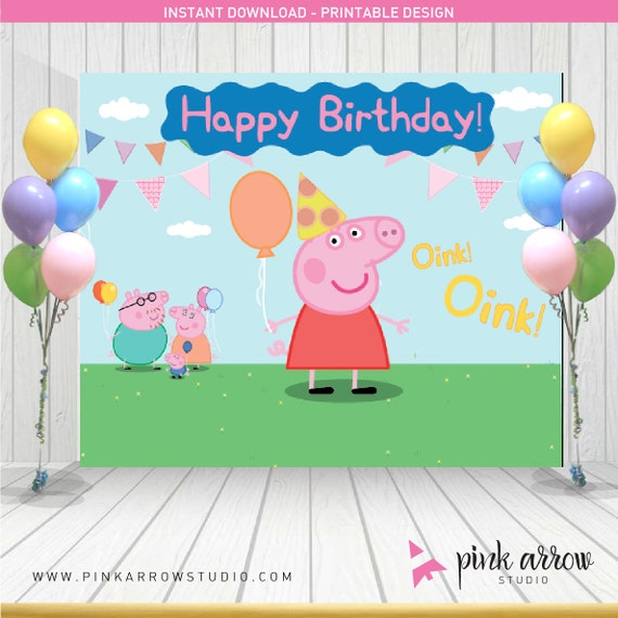 Peppa pig birthday peppa pig backdrop peppa pig banner for Backdrop decoration for birthday
