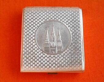 Vintage Soviet  aluminium cigarette case / Holder from USSR / Moscow, Kremlin / Made in USSR, 1960s