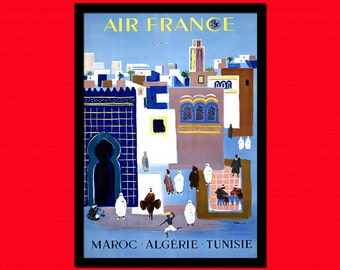 Algeria Morocco Tunisia Air France Poster - Vintage Tourism Travel Print Travel Retro Wall Decor Algeria Poster   bp Reproduction