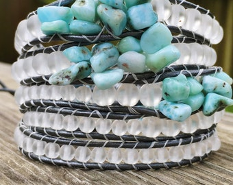 Wrap Bracelet Larimar Chip Gemstone 5 Wrap Graduated Frosted Czech Glass, Metallic Silver Leather Cord, Vintage Silver Button, Beach Boho
