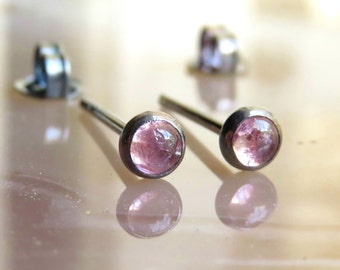 Oxidized Silver Earrings / Natural Pink Tourmaline Stud Earrings - Pink Earrings / Tourmaline Post Earrings / Genuine Tourmaline Posts