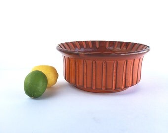 S A L E - Mid Century Italian Pottery Bowl, Vintage Retro Orange Italian Bowl
