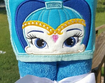 Blue Genie  Hooded Towel with FREE Embroidered Name