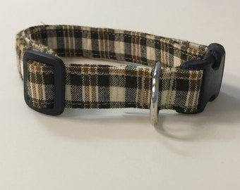 Adjustable Brown and Tan Plaid Print Dog Collar