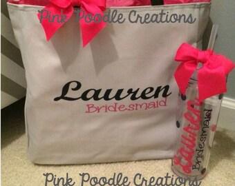 Bridesmaid Tumbler and Tote Bag Set, Bridesmaid Gift, Bridesmaid Gift Set