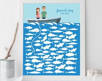 Wedding Guest Book Alternative Poster DIY / Nautical, Ocean Fishing, Custom Portrait, Personalized Couple on Boat, Fish▷ Printable PDF