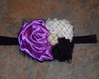 Purple Black and White Birdcage Headband with pearl accent