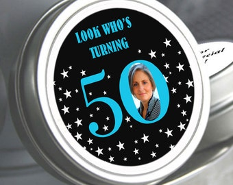 """12 Look Who's Turning ... Photo Birthday Mint Tins - Need a different quantity? Click on the """"choose total"""" tab to see all pricing"""