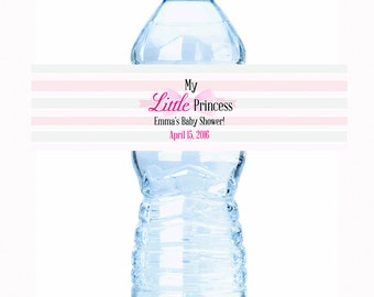 """20 My Little Princess Baby Shower Water Bottle Labels - Select the quantity you need below in the """"Pricing & Quantity"""" option tab"""